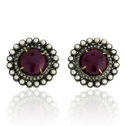 22.21ct Ruby Pearl Stud Earrings Pave Diamond 18kt Gold Sterling Silver Jewelry