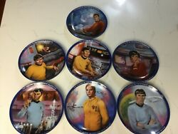 Lot Of 7 Vintage Star Trek Collectors Plates W/ Certificates Of Authenticity