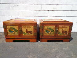 Pair Of Antique Tables Cabinets Korean Bedside Tables Hand Painted Asian Pagoda