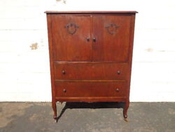 Antique Armoire Wardrobe Chest Of Drawers Tall Dresser Wood Vintage Bedroom