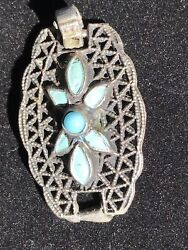 """1"""" Vintage Sterling Silver Turquoise Cluster Filigree Brooch Pin Pendant 3 Grams"""