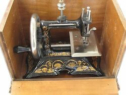 Antique Fancy Cast Iron Childs Toy Sewing Machine With Original Wood Box