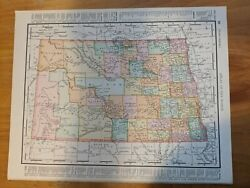 Antique North And South Dakota Map 1899 Atlas Multicolored - One State Each Side