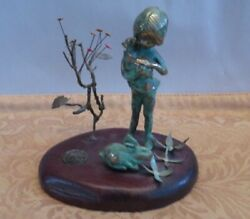1972 MALCOLM MORAN BRONZE GIRL HOLDING BABY BUNNY FLOWERS ART SCULPTURE
