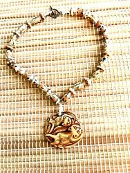 Netsuke Cat Pendant On Beaded Necklacehand-crafted