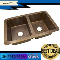 Copper Sink Cf164an Solid Hand Hammered Copper 34 X 21 Large Double Bowl