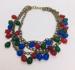Miriam Haskell Antique Blue Red Green Glass Gripoix Drops Triple Brass Necklace
