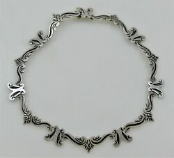 Beto Taxco Sterling Silver Handcrafted Necklace 1960 Oxidized Scroll Links Wow