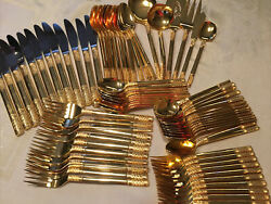 Estate Oxford Hall Stainless Korea Gold Silverware Flatweare 77 Pc 12 Place Sets