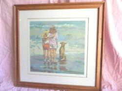 """Lucelle Raad """"two Girls"""" Serigraph Signed Numbered On Wove Paper 297/425 W/ Coa"""