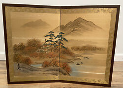Vintage Japanese Chinese 2 Panel Painting Folding Screen Painted Signed Art
