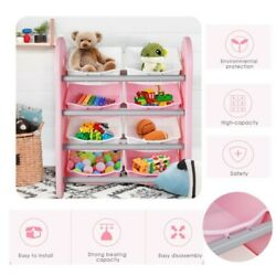 Kids Toy Cabinets Toy Storage Organizer Toy Shelves with 8 box for Toddler Pink