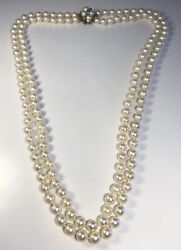 Vintage Double Strand Pearl With 14k White Gold Diamond Clasp Necklace 26