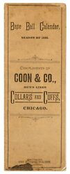 Base Ball Calendar Season Of 1888 Compliments Of Coon And Co Menand039s Linen 1st Ed