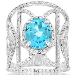 Large 4.25ct Diamond And Aaa Blue Topaz 14kt White Gold Oval And Round Fun Earrings