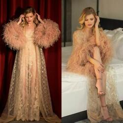 Lllusion Night Robe Feathers Party Sleepwear Nightgowns Robes With Belt 2pieces