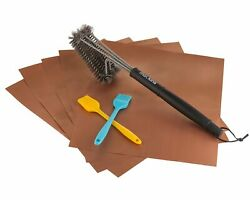 Mockins 5 Bbq Grill Mats Set With 2 Basting Brushes, 1 Steel Wire Cleaning Brush