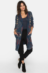 💖nwt Johnny Was Biya Embroidered Whels Long Hoodie Knit Duster Cardigan L 548