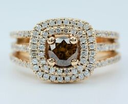 14k Rose Gold Round Brown Diamond With A Double Halo Of Round Diamonds Ring