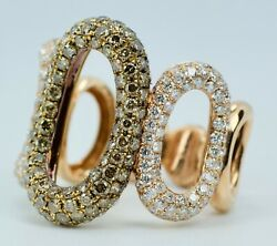 14k Rose Gold Round White Diamond And Round Brown Diamond Open Oval Link Ring