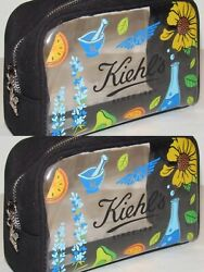 2 * Kiehl#x27;s Clear Cosmetic Makeup Bag Navy Blue Canvas NEW Toiletry Travel Bag $3.99