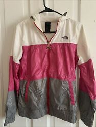 Northface Women's Nylon Windbreaker Jacket Pink Grey White Size Medium $10.00