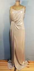 LAUNDRY SHELLI SEGAL Champagne Gold Evening Gown Beaded Grecian Column Dress 12 $35.00