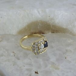 14k Yellow Gold D Shaped Custom Sapphire And Diamond Ring Size 7
