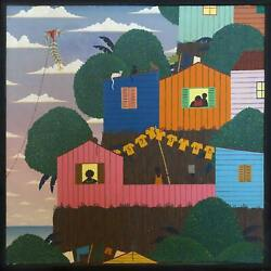 Rodolpho Tamanini Netto Cliffside Homes With Clothes Lines Oil On Canvas Sign