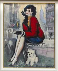 Erik Freyman Afternoon At The Cafe Acrylic On Board Signed Lower Right