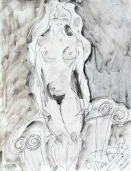 Mara Karetsos, Nude And Columns, Ink On Board, Signed L.r.