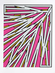 Nicholas Krushenick Small Pink Screenprint Signed And Numbered In Pencil