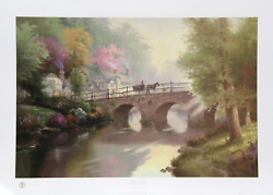 Thomas Kinkade Hometown Bridge Offset Lithograph Signed And Numbered In Marke
