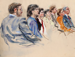 Marshall Goodman, 18 - Seven Figures, Right Profiles, Watercolor On Paper