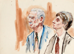 Marshall Goodman, 25 - Two Figures, Two Men In Jackets And Ties, Watercolor On P