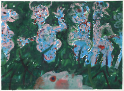 Robert Beauchamp, Figures In The Grass, Gouache On Paper, Signed