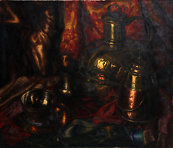 Unknown Artist, Still Life With Copper Kettles, Oil On Canvas, Signed F.c.k. On