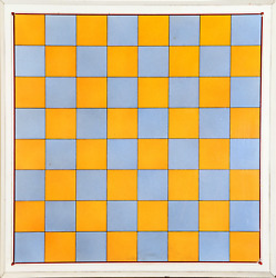 Unknown Artist, Blue And Orange Chessboard, Poster Mounted On Board Mounted To P