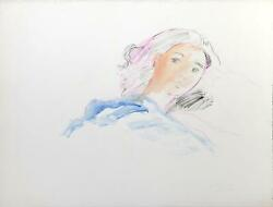 Wayne Ensrud, Woman In Bed, Watercolor And Gouache On Paper, Signed L.r.