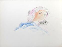 Wayne Ensrud Woman In Bed Watercolor And Gouache On Paper Signed L.r.