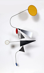 Joel Hotchkiss, Primary Geometric Mobile, Metal Frame With Colored Plastic Sheet