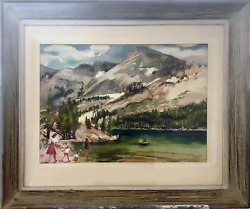 Cecile Johnson, Family Visiting Mountain Park, Watercolor On Paper, Signed L.r.