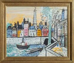 Charles Cobelle, Banks Of The Seine River, Acrylic On Canvas Mounted To Wood, Si