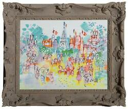Charles Cobelle Eiffel Tower Plaza 1 Acrylic On Canvas Signed Lower Right