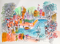 Charles Cobelle Along The Seine With Notre Dame Acrylic On Paper Signed L.r.