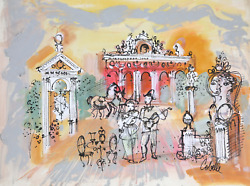 Charles Cobelle Cafe Clown Band Acrylic On Paper Signed L.r.
