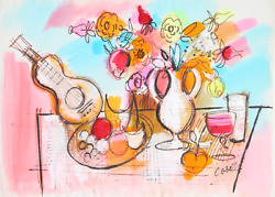 Charles Cobelle Still Life With Mandolin And Flowers 1 Acrylic On Paper Signe