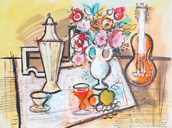 Charles Cobelle, Still Life With Tea Pot And Mandolin, Acrylic On Paper, Signed