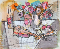 Charles Cobelle, Still Life With Violin And Flowers 1, Acrylic On Paper, Signed