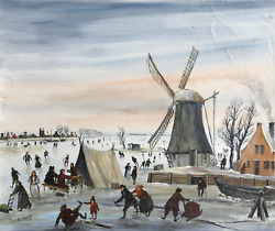 J. Van Buiksloot French Village In Winter 3 Oil On Canvas Signed L.l.